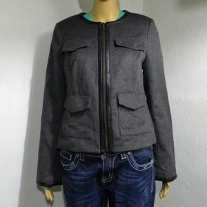 The Limited Gray Crop Military Jacket NWT